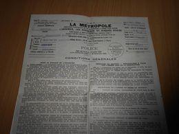 358B , Contrat D'Assurande, LA METROPOLE , Béziers, 1942, Timbre Fiscal 1,20Franc - Historical Documents