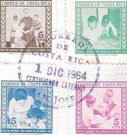 PRO CIUDAD DE LOS NIÑOS SOBRE CERTIFICADO EXTERIOR SERIE COMPLETA AÑO 1964 COSTA RICA - Costa Rica