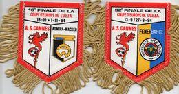 2 Fanions De L'AS CANNES En Coupe UEFA 1994/1995 - Habillement, Souvenirs & Autres