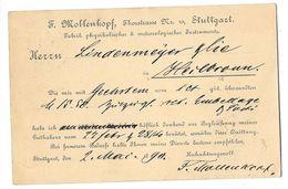 STUTTGART (Allemagne) Carte Commerciale Entier Postal Mollenkopf Instruments De Physique Et Météorologie 1890 - Stuttgart
