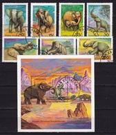 Tanzania 1991 Elephants Complete Set SG 1074 / 1080 + Block - Elephants