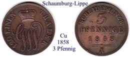 DL-1858, 3 Pfennig, Schaumburg-Lippe - Piccole Monete & Altre Suddivisioni