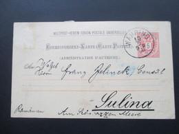 Österreich 1890 GA P 51 Weltvereinspostkarte Nach Sulina Am Schwarzen Meer Rumänien. Social Philately Konsul - 1850-1918 Imperium