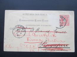 Österreich 1890 GA P 51 Weltvereinspostkarte Nach Singapore Hinterindien. Zurück / Retour. Social Philately Konsul - 1850-1918 Imperium