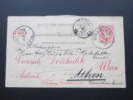 Österreich 1890 GA P 51 Weltvereinspostkarte Nach Athen. Zurück / Retour. Social Philately Konsul Von Hochstätten - 1850-1918 Imperium