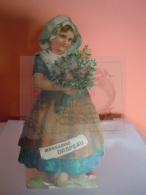 """Reclame Publicité Margarine """"Le Drapeau"""" De Vlag Merxem (Anvers) Meisje Met Bloemen Fille Fleurs 9,5 X 19 Cm - Reclame"""