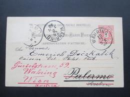 Österreich 1890 GA P 51 Weltvereinspostkarte Nach Palermo Sizilien. Zurück / Retour. Handschriftl. Vermerk! - 1850-1918 Imperium