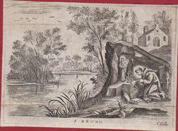 Zeer Oud Santje Santini Image Pieuse Gravure Canivet Perkament Parchment PARCHEMIN Heilige Saint BRUNO Cornelis Galle - Santini