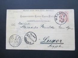 Österreich 1890 GA P 51 Weltvereinspostkarte Nach Luxor Ägypten. Stempel Alexandrie Arrivee - 1850-1918 Imperium