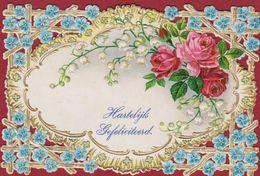 Hartelijk Gefeliciteerd Carte Decoupi Decoupis Gaufre Bloemen Aux Fleurs Flowers Flower (In Very Good Condition) - Fleurs