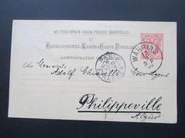 Österreich 1890 GA P 51 Weltvereinspostkarte Nach Philippeville Algier. Über Paris! Interessante Karte!! - 1850-1918 Imperium