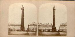 (59)  Photo Originale Sur Carton Fin 1800 Paris Colonne Vendome 16cm X 8.5cm (Bon Etat) - Photos Stéréoscopiques