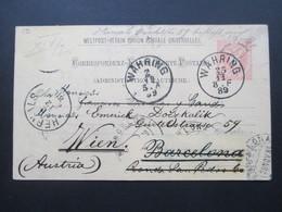 Österreich 1889 GA P 51 Weltvereinspostkarte Nach Barcelona Mit 6 Stempel. Retour / Zurück - 1850-1918 Imperium
