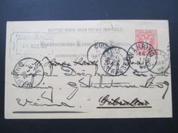 Österreich 1889 GA P 51 Weltvereinspostkarte Nach Gibraltar Mit 6 Stempel. Retour / Zurück.  Konsul Ferdin Schott - 1850-1918 Imperium