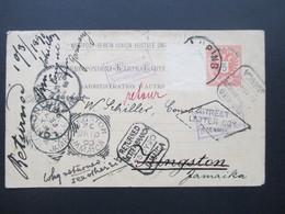 Österreich 1890 GA P 51 Weltvereinspostkarte Nach Kingston Jamaica. 9 Stempel! Street Letter Box. Returned Letter Branch - 1850-1918 Imperium