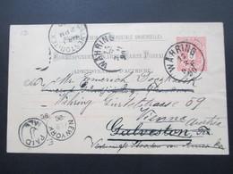 Österreich 1890 GA P 51 Weltvereinspostkarte Nach Galveston Texas USA. Zurück / Return. 4 Stempel - 1850-1918 Imperium