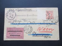 Österreich 1890 GA P 51 Weltvereinspostkarte Nach Iquique Chile.Zettel An Absender Zurück. Kaiserlich Deutsches Konsulat - Briefe U. Dokumente
