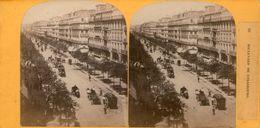 (59)  Photo Originale Sur Carton Fin 1800 Paris Boulevard De Strasbourg 16cm X 8.5cm (Bon Etat) - Stereoscopic