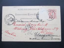 Österreich 1889 GA P 51 Weltvereinspostkarte Nach Glasgow Schottland. Return To Sender! - 1850-1918 Imperium