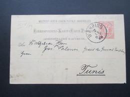 Österreich 1889 GA P 51 Weltvereinspostkarte Nach Tunis / Tunesien. Social Philately Konsul - Briefe U. Dokumente
