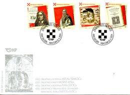 CROATIE. N°636-9 De 2004 Sur Enveloppe 1er Jour. Personnalités Croates. - Croazia