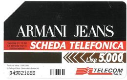 ITALIA SCHEDA TELEFONICATELECOM  SERIE ARMANI JEANS 049021688 - Moda