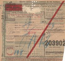 Bulletin D'expédition  N° 203902 Avec Colis Postaux N° 188 - Valeur Déclarée - FQ - Lettres & Documents