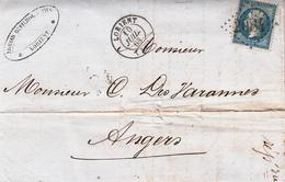 LAC Affr Y&T 22 Obl GC 2084 + TàD LORIENT Du 10 JUIL 63 Adressée à Angers - Marcophilie (Lettres)
