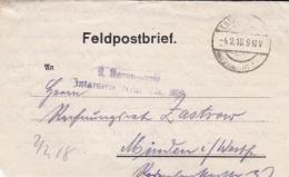 Feldpost WW1: From  Ailette In France - Infanterie Regiment 398 (3./I) P/m .2.1918 - Letter Inside  (SKO1-46) - WW1
