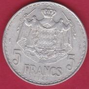 Monaco - Louis II - 5 Francs Aluminium (1943) - 1922-1949 Louis II