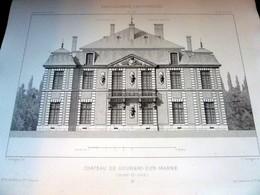 PLANS - CHATEAU De GOURNAY (Seine Et Oise) - LOT De 2 Plans, Encyclopédie D'Architecture XIXe Siècle, Archit. SAUVAGEOT - Architecture