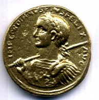 MEDAILLON GORDIANUS III MARCUS ANTONIUS 238-244 ETAIN DORE REPLIQUE 35mm - Autres Pièces Antiques