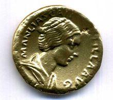 SESTERTIUS MANLIA SCANTILLA ETAIN DORE REPLIQUE 35mm - Monnaies Antiques