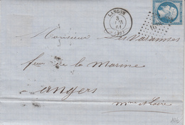 LAC Affr Y&T 14B Obl PC 1638 + TàD LANGON Du 3 JUIN 61 Adressée à Angers - 1849-1876: Classic Period