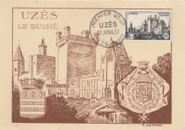 CARTE 1ER JOUR  UZES  GARD 1957 - FDC