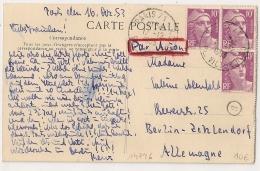 TARIF  30F, CP Par AVION, 10F GANDON X3. PARIS 71 PL VICTOR HUGO. 17 - 12 - 1953. - Marcofilia (sobres)