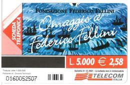 ITALIA SCHEDA TELEFONICA TELECOM  SERIE OMAGGIO A FEDERICO FELLINI IL PASSAGGIO DEL REX, 1982 N. 0160052507 - Cine