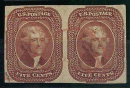 USA, N° 6 Oblitéré, TB En Paire, Us Postage Signé Calves - Used Stamps