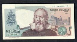 2000 Lire Galilei Curiosità Azzurrino E Numeri Verdi 1983 Fds LOTTO 310 - [ 2] 1946-… : Républic