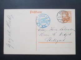DR 1917 Ganzsache Metz. Blauer Zensurstempel Metz Geprüft Und Zu Befördern. Anfrage Nach Haarfarbe - Germania