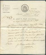 Lettre Imprimé Du Général De Brigade MALHER écrite à Bruxelles Le 3 Ventôse AN 11 - 12607 - 1794-1814 (French Period)