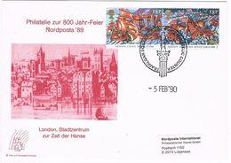27495. Carta LONDON 1990. Trafalgar Square. NORDPOSTA 89. Armada Stamp - Cartas