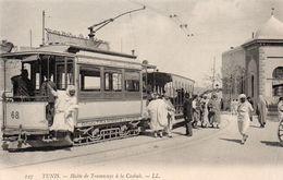 TUNISIE TUNIS HALTE DE TRAMWAYS A LA CASBAH ANIMEE CLICHE UNIQUE - Túnez