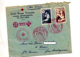 Lettre Cachet Fdc 1954  Mulhouse Croix Rouge Entete Concordante - FDC