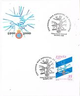 27497. Tarjeta Fragmento Souvenir  BARCELONA 2000. Futbol Club ESPANYOL, Centenario - 1991-00 Cartas