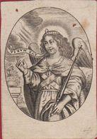 Zeer Oud Santje Santini Image Pieuse Gravure Canivet Cornelis Galle Engel Angel Ange Gravure 18th Century Very Old - Images Religieuses