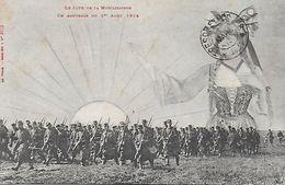 WW1 1914-18 LE JOUR DE LA MOBILISATION EN SOUVENIR DU 1er AOUT 1914 ALSACE ALSACIENNE SALUANT LES TROUPES EDIT WEICK - Patriotiques