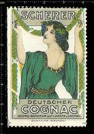 German Poster Stamp, Reklamemarke, Cinderella, Scherer Deutscher Cognac, Scherer German Cognac, Women, Frau. - Boissons