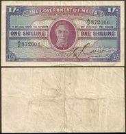 Malta 1 Shilling 1943 P16 Sn006 F-VF - Malta
