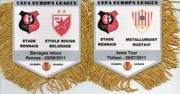Lot De 2 Fanions De RENNES En Europa League 2011 - Habillement, Souvenirs & Autres